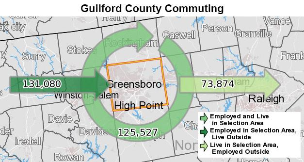 Guilford County Commuting Map